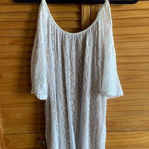 Open shoulder white lace Express dress